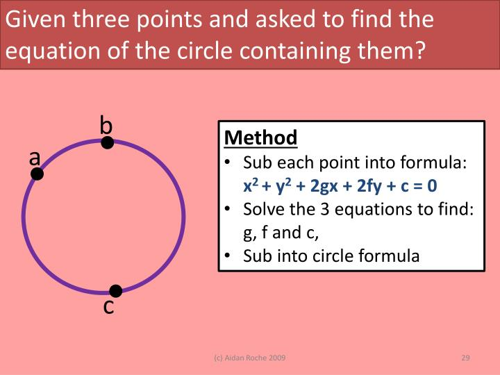 Given three points and asked to find the equation of the circle containing them?