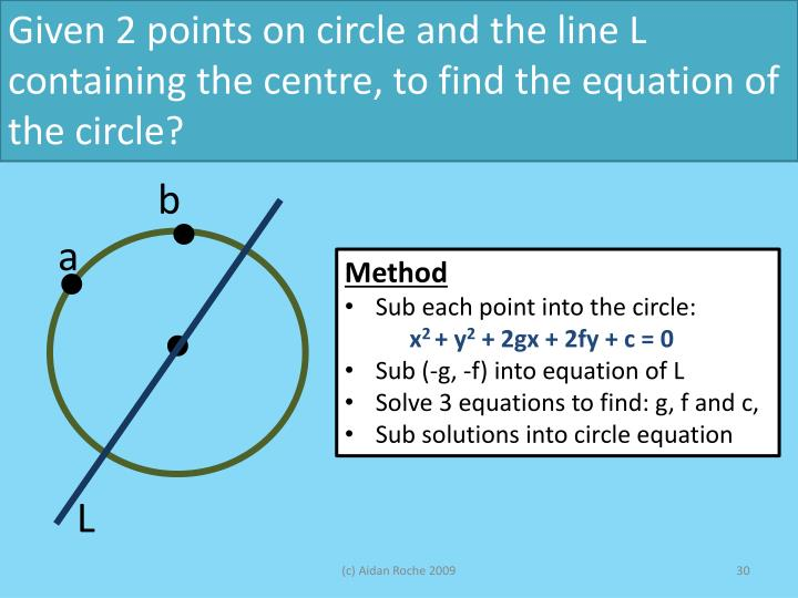 Given 2 points on circle and the line L containing the centre, to find the equation of the circle?