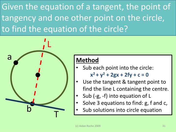 Given the equation of a tangent, the point of tangency and one other point on the circle, to find the equation of the circle?