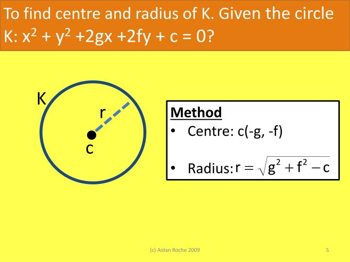 To find centre and radius of K. G