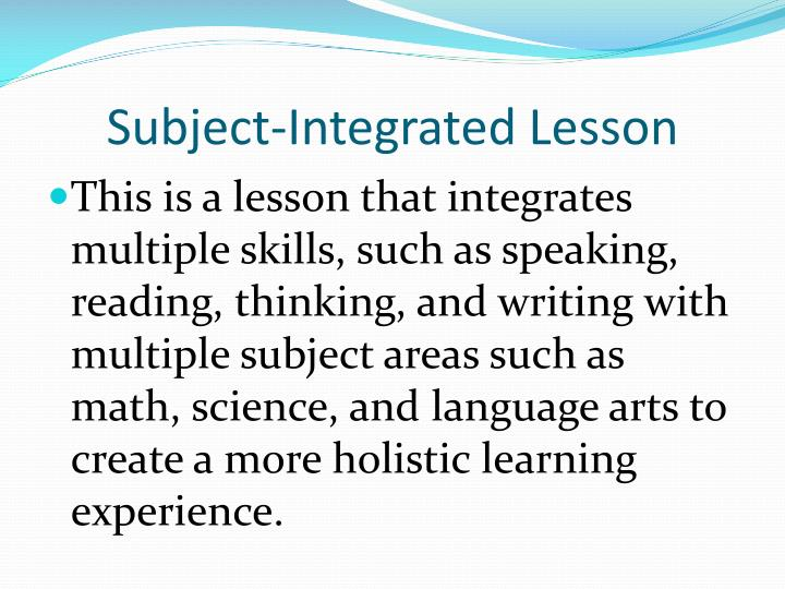 Subject-Integrated Lesson