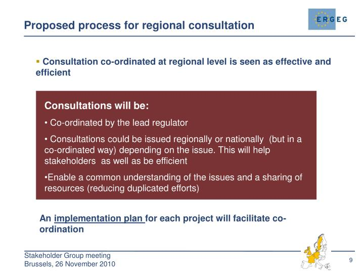 Proposed process for regional consultation