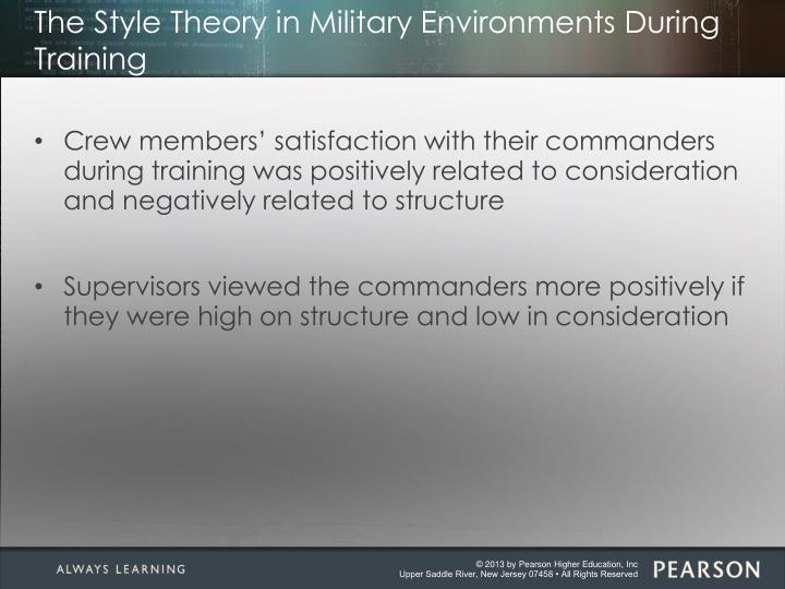 The Style Theory in Military Environments During Training