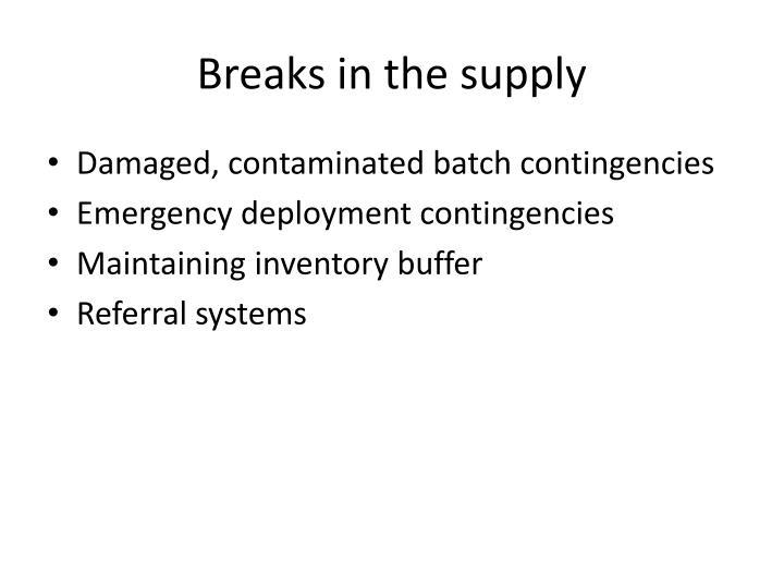 Breaks in the supply
