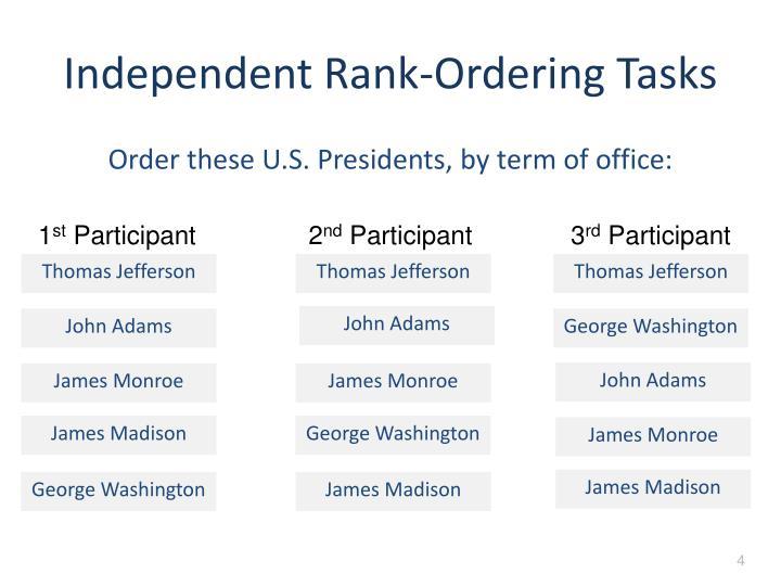 Independent Rank-Ordering Tasks