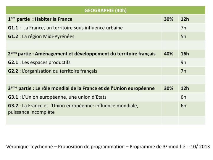 Véronique Teychenné – Proposition de programmation – Programme de 3