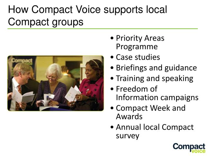 How Compact Voice supports local Compact groups