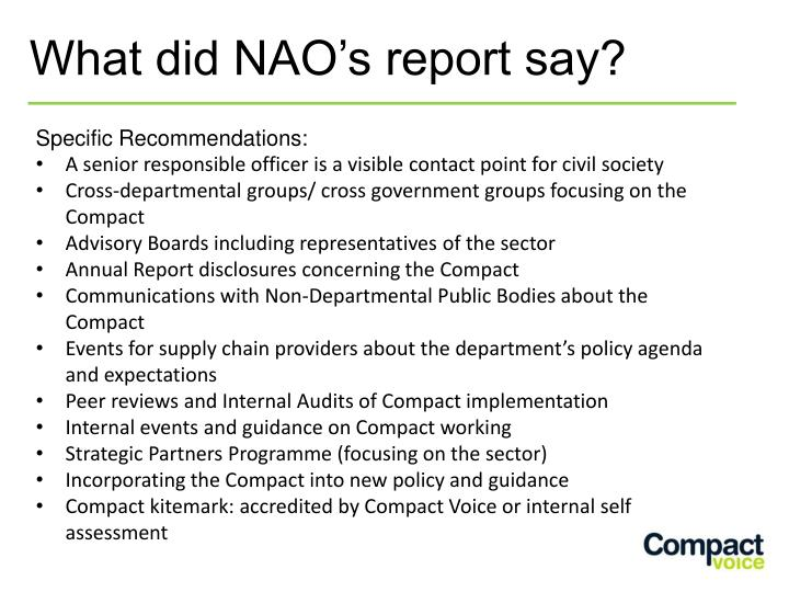 What did NAO's report say?