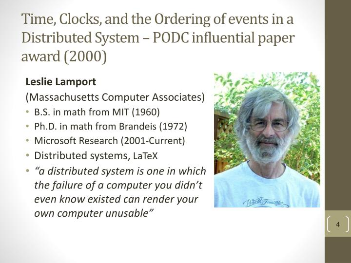 Time, Clocks, and the Ordering of events in a