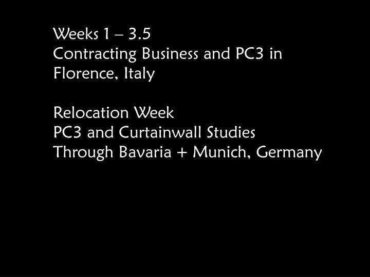 Weeks 1 – 3.5