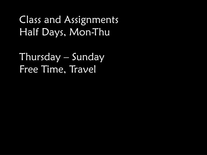 Class and Assignments