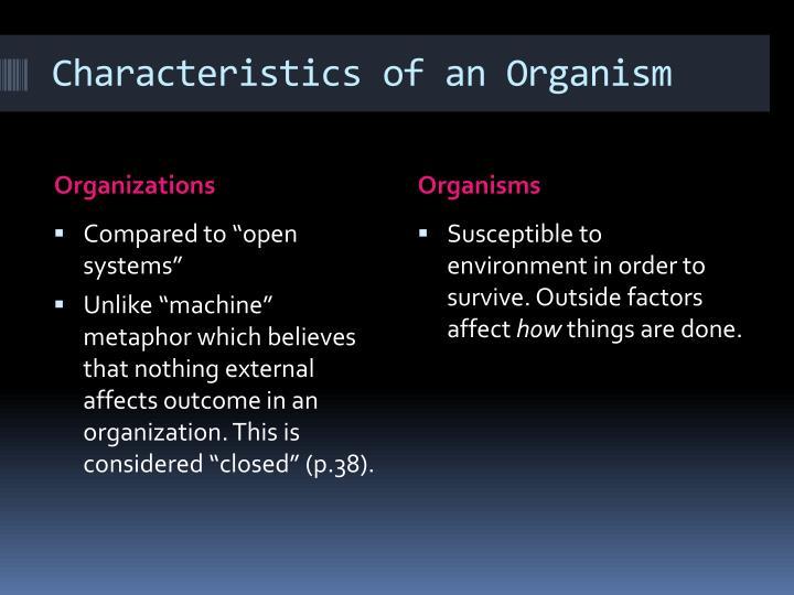 Characteristics of an Organism