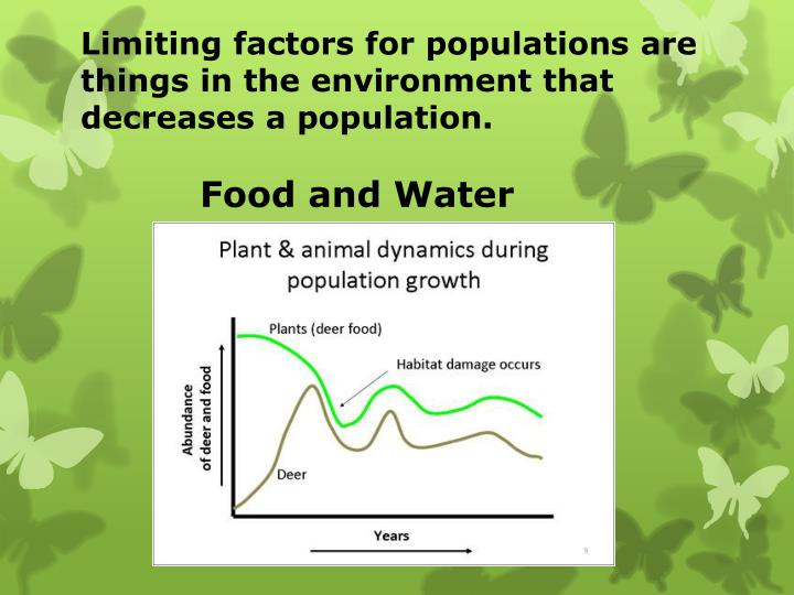 Limiting factors for populations are things in the environment that decreases a population.
