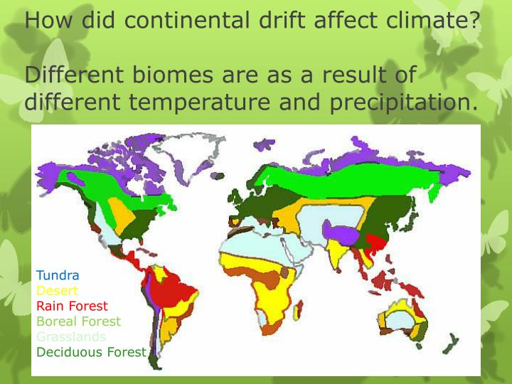 How did continental drift affect climate?