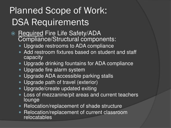 Planned Scope of Work: