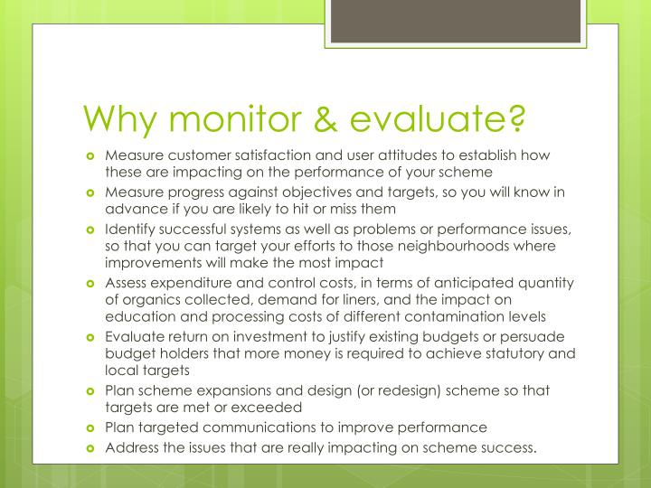 Why monitor & evaluate?