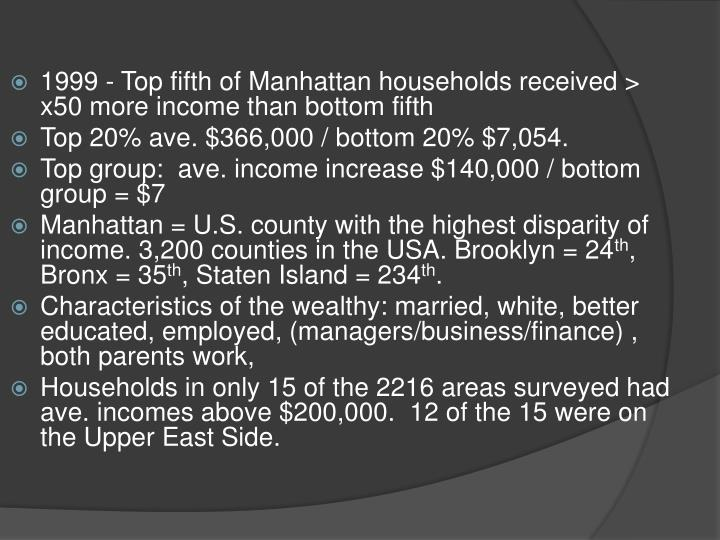 1999 - Top fifth of Manhattan households received > x50 more income than bottom fifth