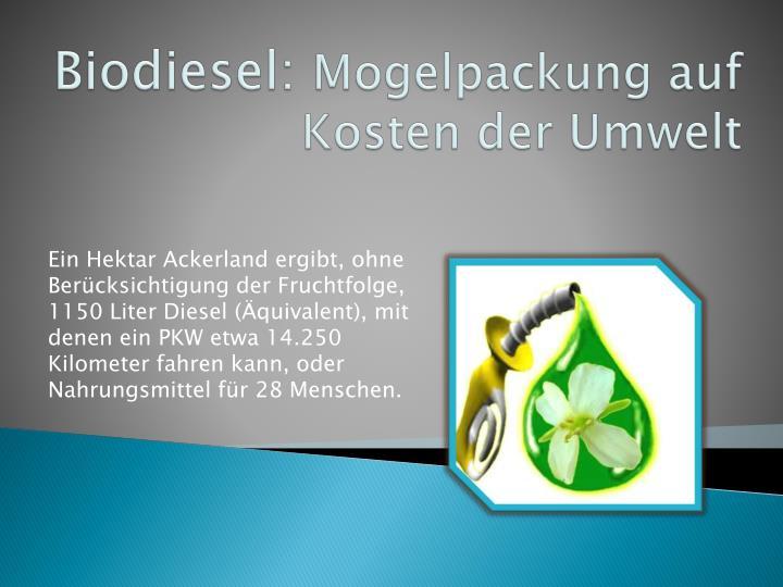 Biodiesel: