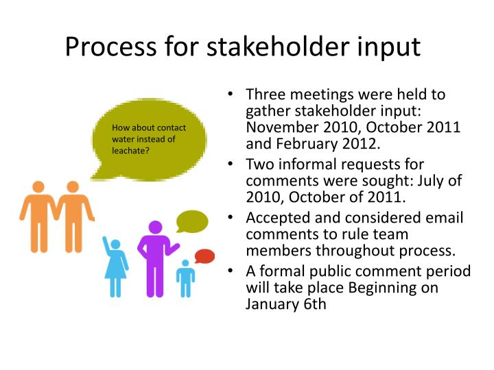Process for stakeholder input