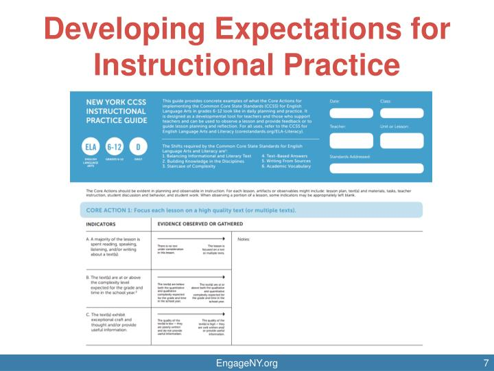 Developing Expectations for Instructional Practice