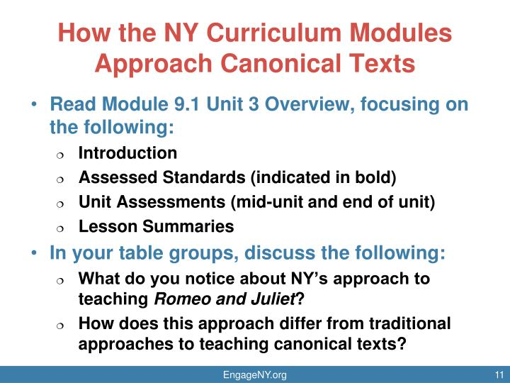 How the NY Curriculum Modules Approach Canonical Texts