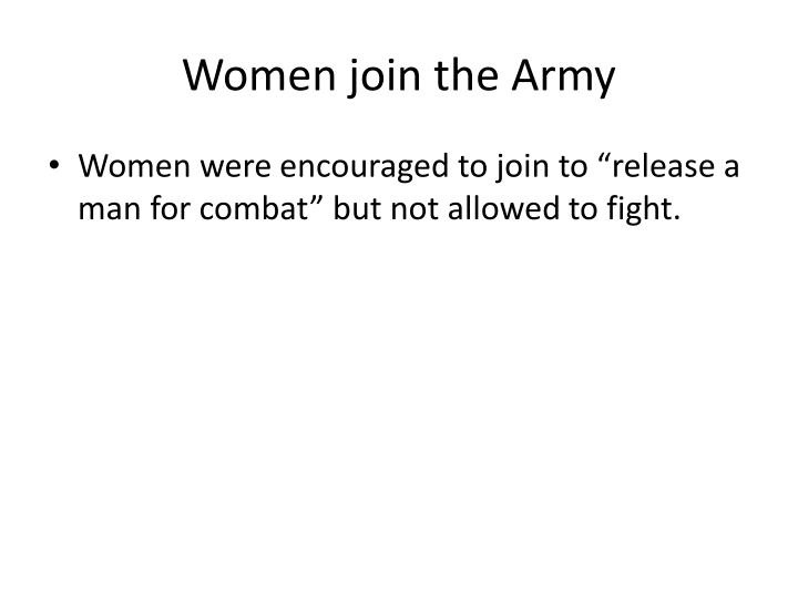 Women join the Army