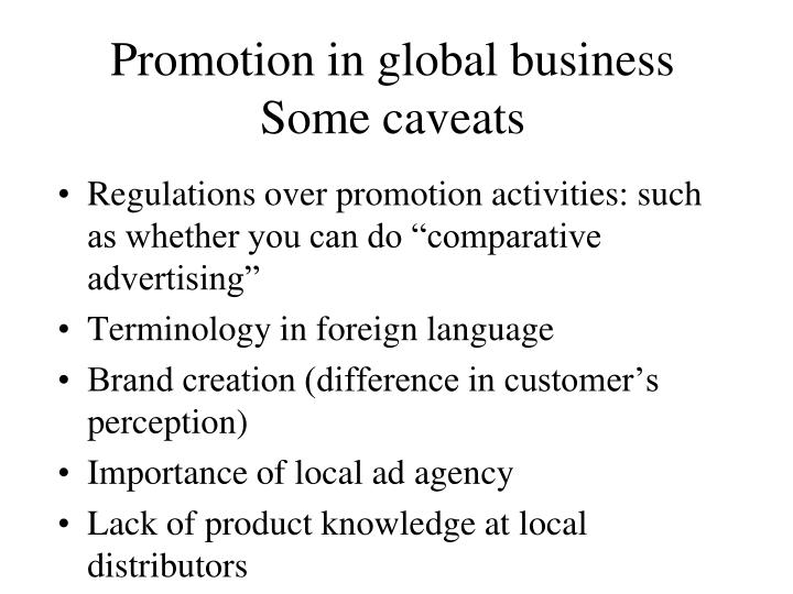 Promotion in global business