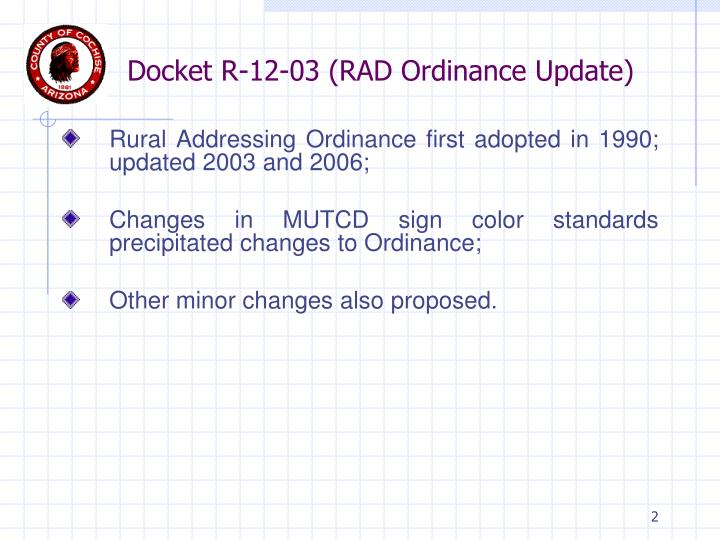 Docket r 12 03 rad ordinance update