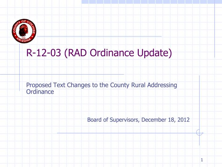 R 12 03 rad ordinance update