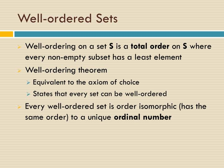 Well-ordered Sets