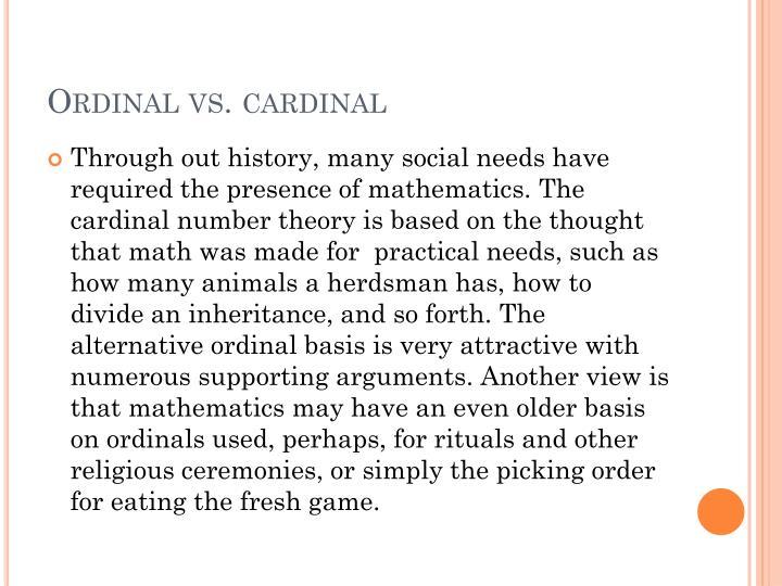 Ordinal vs. cardinal