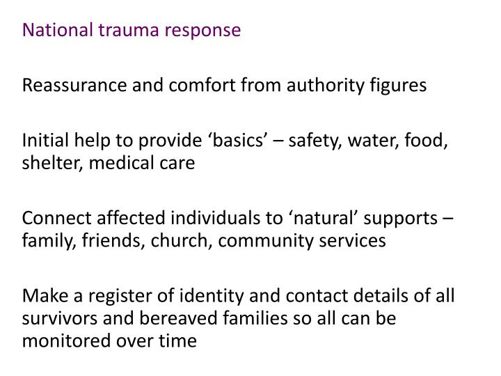 National trauma response