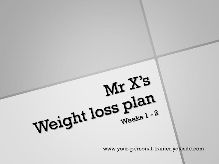 Mr x s weight loss plan