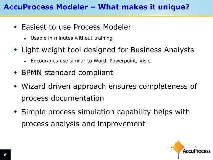 AccuProcess Modeler – What makes it unique?