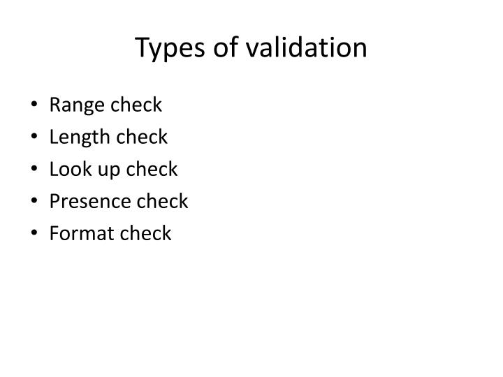 Types of validation1