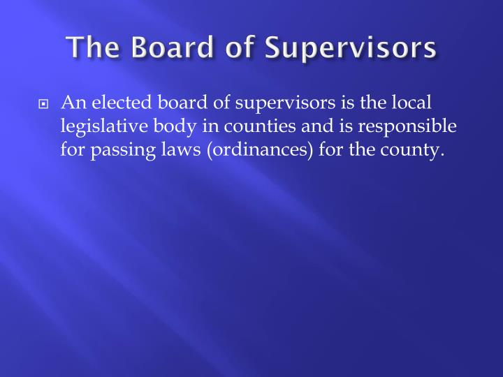 The Board of Supervisors
