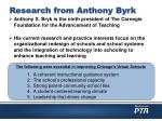 research from anthony byrk