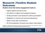 research positive student outcomes