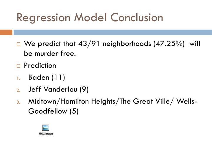 Regression Model Conclusion
