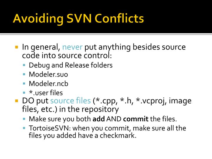 Avoiding SVN Conflicts
