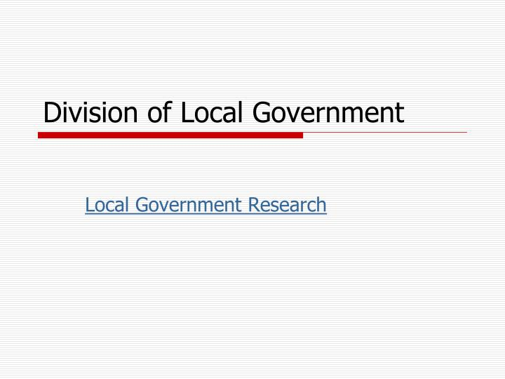 Division of Local Government