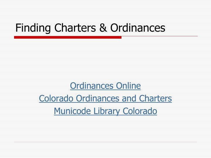 Finding Charters & Ordinances