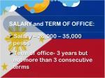 salary and term of office