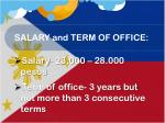 salary and term of office1