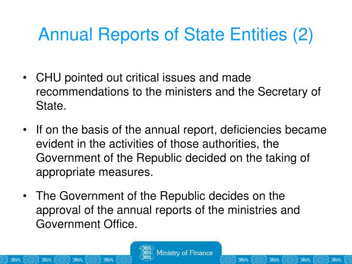 Annual Reports of State Entities (2)