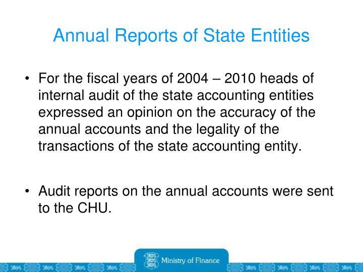 Annual Reports of State Entities