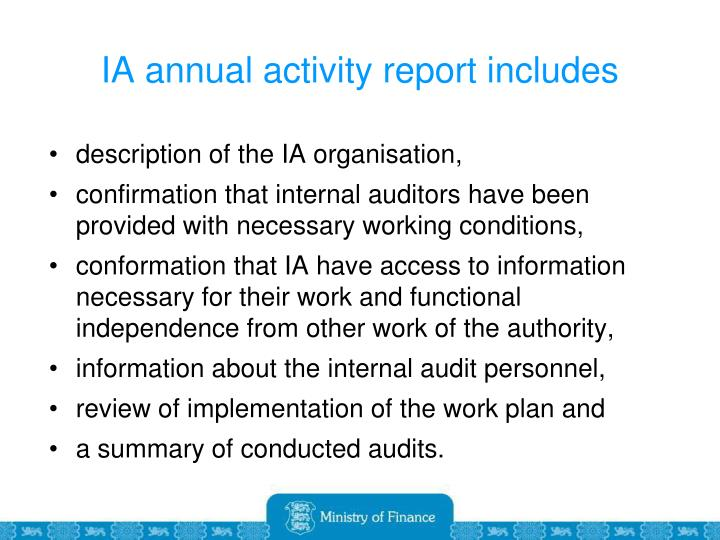 IA annual activity report includes