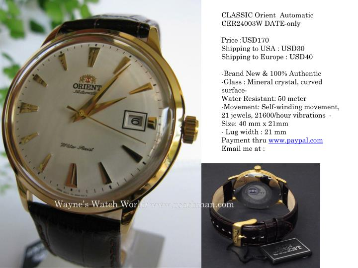CLASSIC Orient  Automatic CER24003W DATE-only