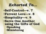 exhorted to