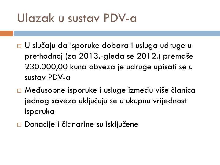 Ulazak u sustav PDV-a